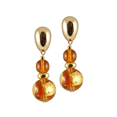 Tosca Topaz Venetian Murano Glass Drop Clip On Earrings With