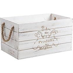Caja de almacenamiento de madera blanca envejecida