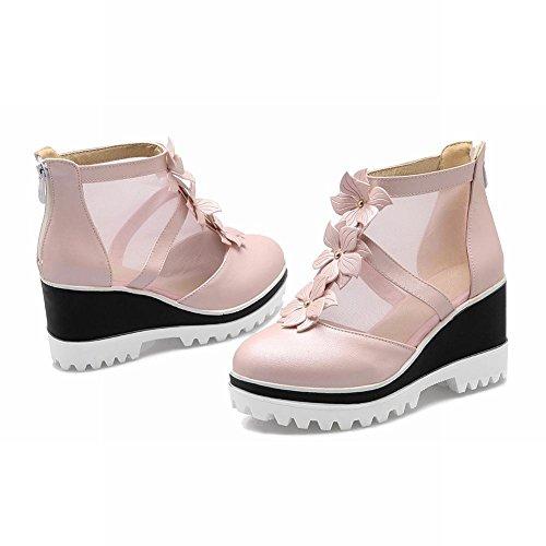 Mee Shoes Damen modern bequem süß Mesh mit Blümchen Reißverschluss Blockabsatz Geschlossen Plateau Pumps Pink