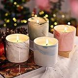 LANGRIA Bougies Parfumées, Candle Ensemble Cadeau Créatif,4 * 7.02oz,pour Cadeau de Noël,L'aromathérapie,Mariage,Bath,Yoga, Masion Décor(Rose/Lavande/Vanille/Gardénia)