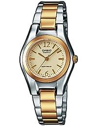 CASIO LTP-1280SG-9AEF - Reloj de cuarzo con correa de acero inoxidable para mujer, color plateado / dorado
