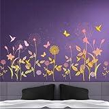 nobrand Adesivi murali Fiore da Giardino Farfalla Dente di Leone Wall Sticker Paesaggio Decorazione murale Camera da Letto Soggiorno Pittura murale Decorazione residenziale Poster murale 55x100cm