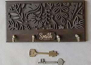 The Grandeur Modern Floral Key Holder with 4 Hooks, Black in Color, Size of 10cm X 15cm