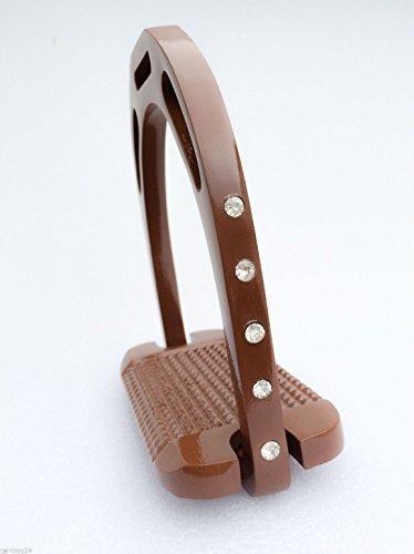NEU!!! Aluminium Alu jin Steigbügel Stirrups braun glänzend mit Strass, 12cm breit, leicht