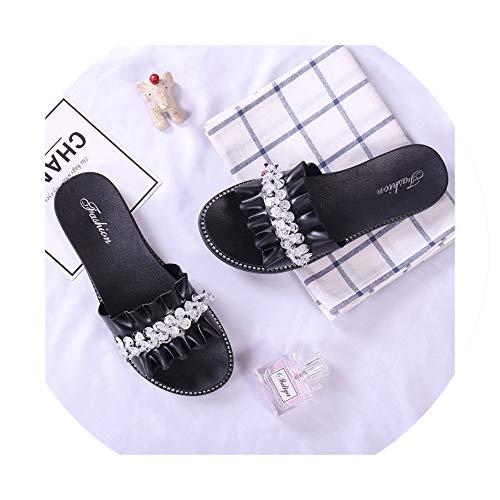 Jessica Simpson Leather Jeans (Women Slippers Shoes Home Shoe Flip Flops Women Sandals Slides Platform Crystal Bordered Slippers,Black,8.5)