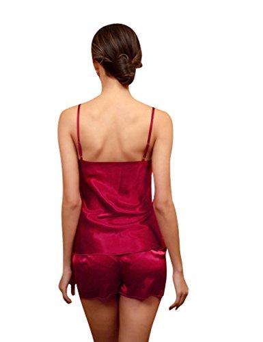 Menschwear Damen Ruhige Träume Pyjama Komfort Fit Top und Hose Rot