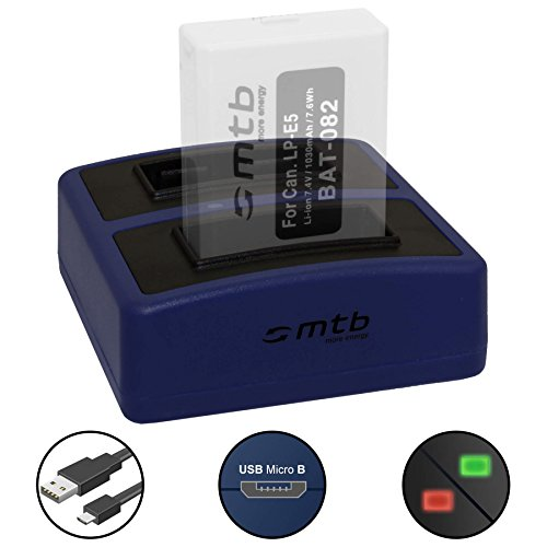 Dual-Ladegerät Compact (USB) für Canon LP-E5 / EOS 450D, 500D, 1000D / Rebel T1i, XS, Xsi - inkl. Micro-USB-Kabel (2 Akkus gleichzeitig ladbar)