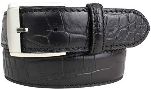 Gürtel mit Krokoprägung 4,0 cm | Leder-Gürtel für Damen Herren 40mm Kroko-Optik | In Schwarz Braun Blau Rot Cognac Kroko-Muster Schnalle Silber -