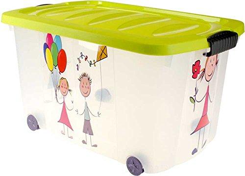 te (Multibox) mit Rollen | Kinder-Muster und grünen Deckel ()