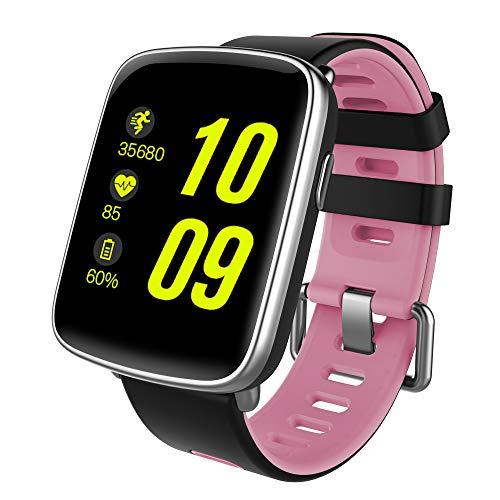 NinJaSun wasserdichte Uhr für Smartwatches, Musik, Gesundheits- und Fitnesssportarten, kompatibel mit Android und IOS,Pink