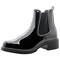 New Womens Chelsea Ankle Boots Studs Chunky Low Heel High Top Ladies Shoes 3-8