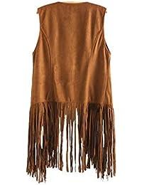 Tongshi Abrigo Las mujeres otoño invierno gamuza sintética sin mangas de las borlas con flecos étnico Chaleco Cardigan