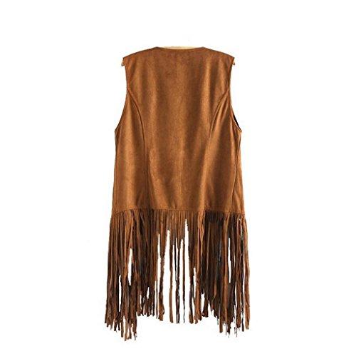 Tongshi Abrigo Las mujeres otoño invierno gamuza sintética sin mangas de las borlas con flecos étnico Chaleco Cardigan (EU 38 (Asia L),