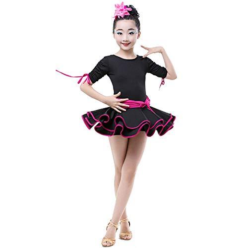 Mädchen tanzen Kleid Kostüme Kinder Mädchen Geraffte Kurzarm Latin Dance Dress Outfit Rumba Samba Ballsaal Dancewear Flowy Rüschen Tutu Kleid Leistung Wettbewerb Tanzkostüme Tutu-Kleid für Mädchen - Geraffte Rock Bühne