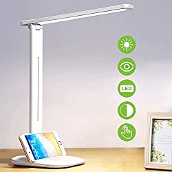 Lampada Scrivania 24 LED, Lampada da Tavolo con Efficienza Energetica Occhi-Cura, 3 Modalità × Luminosità Illimitata, Sensibile Tocco-Controllo e con 180° Girevole per Ufficio,Lettura,Studio,Lavoro