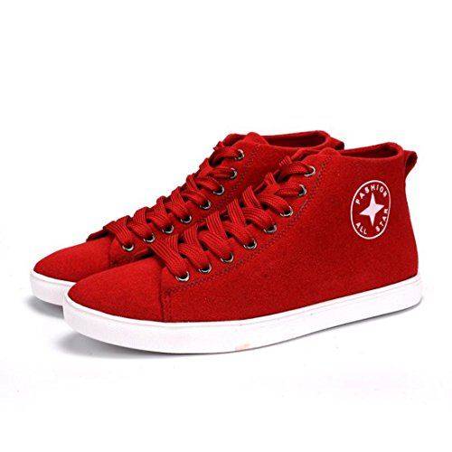 Men's Classic Style Flat Anti Slip Skateboarding Shoes red