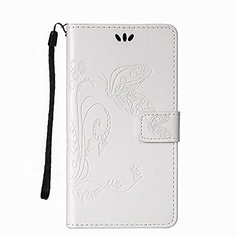 Housse Samsung S3, SpiritSun Etui en PU Cuir Portefeuille Coque Protection pour Samsung Galaxy S3 i9300 Fleur et Papillon Modèle Case avec Fonction Support Stand (Blanc)