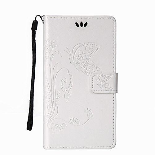 Forepin® Flip Wallet Ledertasche Hülle für Sony Xperia M5 5.0 Zoll Weich PU Leder Schutzhülle im Schmetterlingsmuster mit Standfunktion Karteneinschub und Magnetverschluß (Kostenlose Lanyard) - Weiß