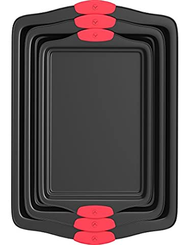 Vremi 3 Piece Baking Sheets Nonstick Set - Professional Non Stick Sheet Pan Set for Baking - Carbon Steel Baking Pans Cookie Sheets with Red Silicone Handles - has Quarter and Half Sheet