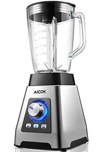 Standmixer Mixer Hochleistungsmixer (1000W, 28.000 U/min) Aicok moothie Maker Edelstahl Blender mit 6-Blatt Edelstahlmesser, 7 Geschwindigkeiten, 3 Automatikprogramme, 1,5L Tritan-Behälter ohne BPA