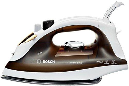 Bosch TDA2360 QuickFilling - Plancha de vapor para ropa, 2.000 W, golpe de vapor 80 g, base Inox Glissèe, marrón y blanco