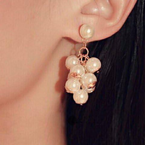 Perla di Faux Grape Cluster orecchini di goccia, perla goccia orecchini per le donne, le ragazze