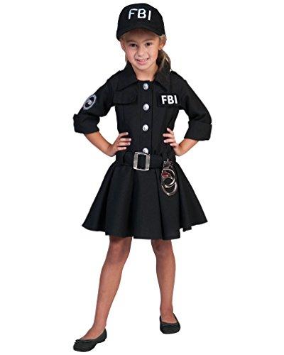 Kostüm FBI Agentin Caroline Kind Größe 152 Kinderkostüm Mädchen Geheimagentin Uniform Polizistin Berufe Kleid Schwarz Karneval Fasching (Kostüm Party Gangster Motto)