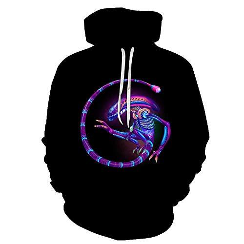 XHFC Felpe con Cappuccio Uomo Unisex HD 3D Stampare Hoodie Streetwear Gym Pullover Confortevole Sweatshirt Maniche Lunghe Felpe per Adolescenti Sweat Jacket con Tasche Alien