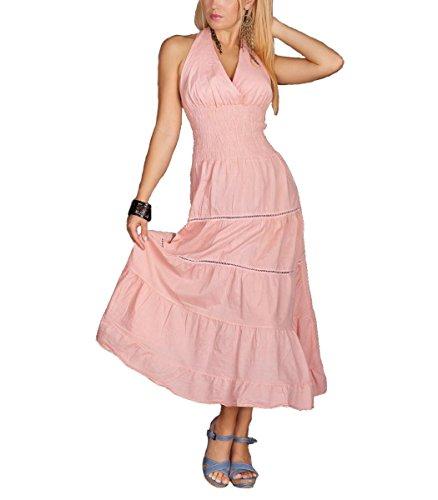 Maxikleid Neckholder langes Kleid Sommerkleid Lachs Rosa Baumwolle, Seide, Größe:36/38