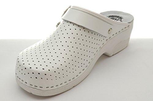 Dr Punto Rosso BRIL B2 Komfortschuhe Lederschuhe Pantolette Clog Damen Weiß