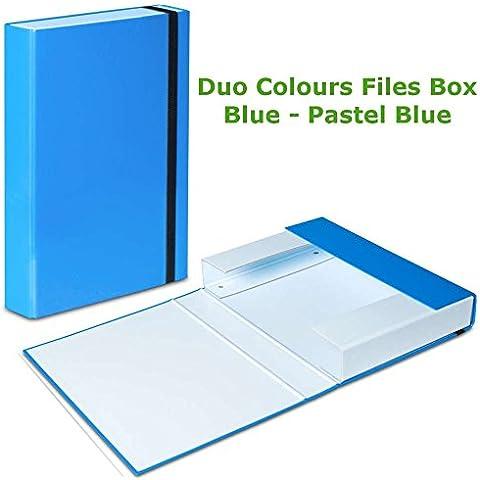 3x, colore: blu pastello blu fascia elastica scatola portadocumenti A4cartella