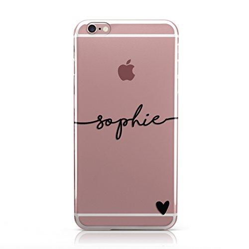 e Handyhülle mit personalisiertem Namen und Herzen, Hülle für Apple iPhone, 7. Black Name & Heart Clear, Apple iPhone 6 Plus / 6s Plus ()