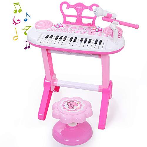 SGILE Klavier Spielzeug Kinder Standkeyboard inkl. Mikrofon und Stuhl, 31 Weiße und Schwarze Tasten Musikinstrument für Kinder und Einsteiger Ausbildung in Singen, Audiogerät für Mp3 Ipad Handy, Pink