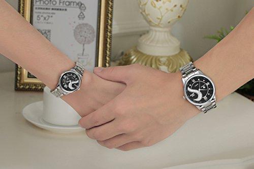 OOFIT Paaruhren Partneruhr Seine und ihre Edelstahl Armband Schwarz Geschenk für Hochzeit und Weihnachten (2er-Set)
