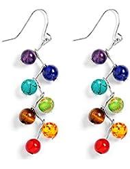 04f972e8dd47 AIUIN 1 par Pendientes para Mujere Piedra Arco Iris Natural Pendientes de  Plateado Pendientes de Botón