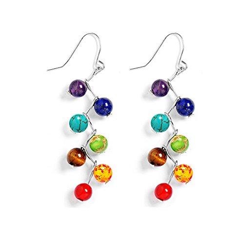 AIUIN Schmuck Damen Chakra Ohrringe Reiki-Energietherapie Ohrhänger 7 Steine Beads Chakra Healing Ohrring Ohrstecker (Ohrringe Chakra)