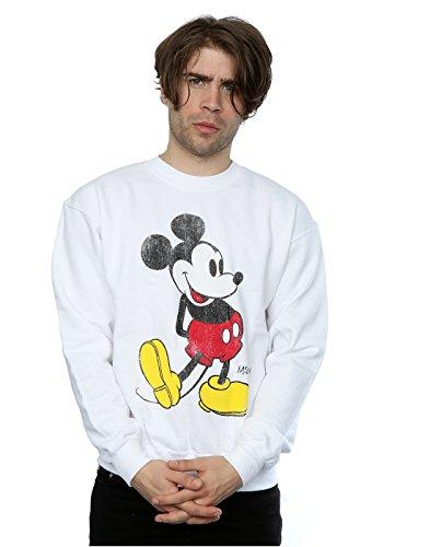Disney Herren Mickey Mouse Classic Kick Sweatshirt Medium Weiß (Maus Herren Mickey)