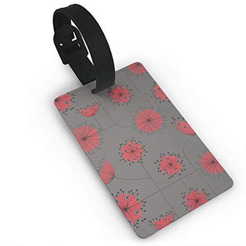 Ewtretr Kofferanhänger,Gepäckanhänger, Luggage Tag with Hand Strap Durable Red Dandelion Travel Suitcase Bag Tag Identify Label