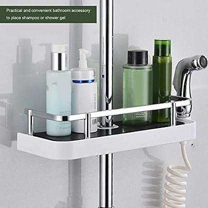 Estante de almacenamiento para barra de ducha, sin perforaciones, soporte para bandeja de baño ajustable, organizador de alcachofa de ducha con gancho extraíble