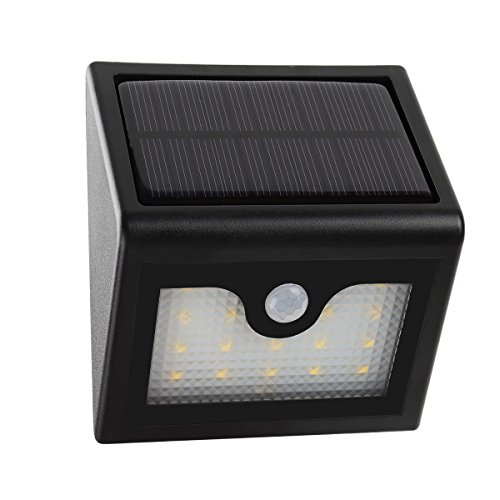 MEIKEE Solar Wandbeleuchtung mit Bewegungsmelder 400LM solarbetriebene Außenbeleuchtung mit 20 LEDs wasserdicht Wandleuchte für Terrasse, Balkon, Garage, Treppen, Garten, Hof, Flur