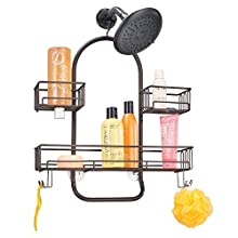 mDesign Shower Shelves – Hanging Shower Baskets with Hooks for Storing Soaps, Gels, Razors and More – Hanging Shower Caddy for Bathrooms and Shower Stalls – Bronze