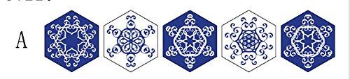 JIAJU Hexagonal blau und weiß Porzellan Fliesen Aufkleber Wohnzimmer Schlafzimmer Küche Aufkleber Dekorative Wandaufkleber, A -