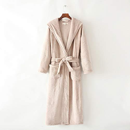 LIUY Damen Bademantel Coral Fleece (Plüsch-Bademantel mit Kapuze), Super SoftComfortable Spa Robe Bikinihaus Leichte Robe for Frauen (Color : Khaki, Size : M)
