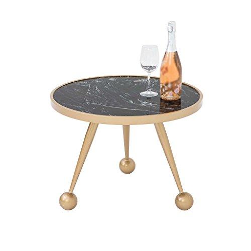 C-J-Xin Eisen Kunst Tisch, Marmor Tischplatte Gold Kreative Tee Tisch Runde Multifunktions Wohnzimmer Restaurant Bar Tee Tisch Platz Sparen (größe : 60 * 46CM) -