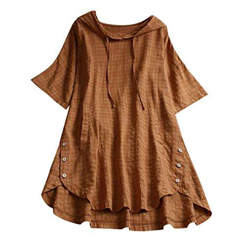 QIMANZI Übergröße Damen Lange Ärmel Kaftan Ausgebeult Taste Bettwäsche aus BaumwolleTunika Bluse(Gelb,L) - Baumwolle Love Crewneck T-shirt
