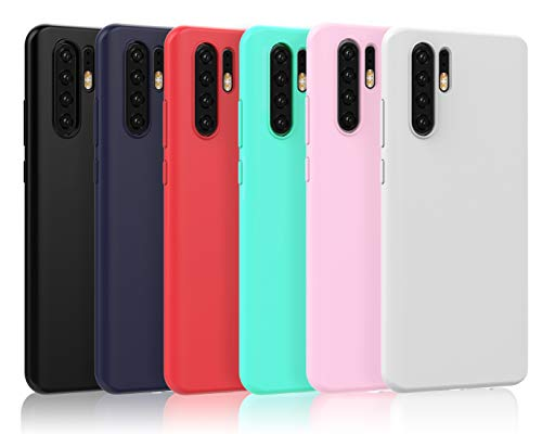 VGUARD [Pack 6] Capa Huawei P30 PRO, Silicone Ultrafino TPU Soft Case Capa Gel de Proteção para Huawei P30 PRO (Preto, Azul Escuro, Vermelho, Verde, Rosa, Transparente)