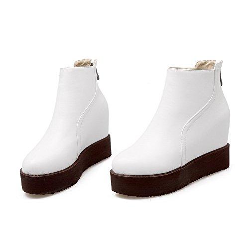 AllhqFashion Damen Rund Zehe Rein Blend-Materialien Stiefel Weiß