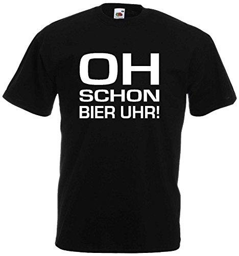 Oh Schon Bier Uhr Herren T-Shirt Funshirt bis 3XLschwarz-XXL