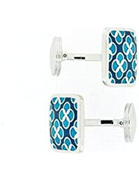 Sterling Silver Square Shaped Cufflinks With Blue Mosaic Design