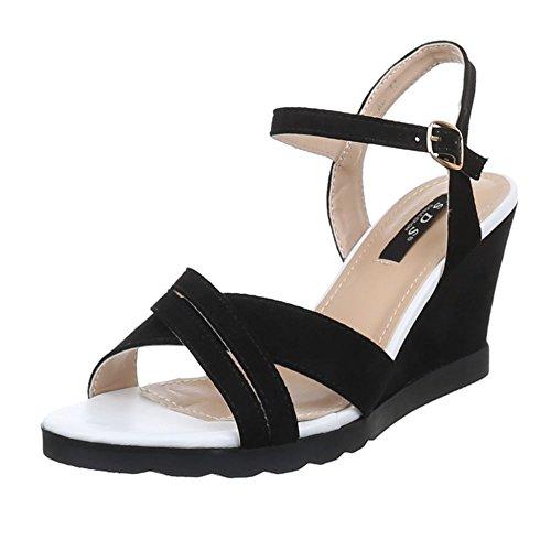 Damen Schuhe, 1411-KL, SANDALETTEN PUMPS KEIL Schwarz